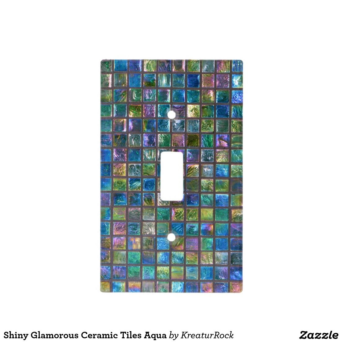 Shiny Glamorous Ceramic Tiles Aqua Light Switch Cover