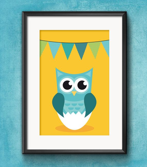 Baby Boy Owl Poster // nursery decoration // instantly printable A4 ...