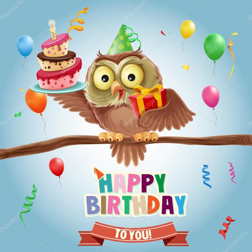 Happy Birthday Banner With Owl Stock Vector Mollicart Happy Birthday Owl Happy Birthday Birds Happy Birthday Gifts