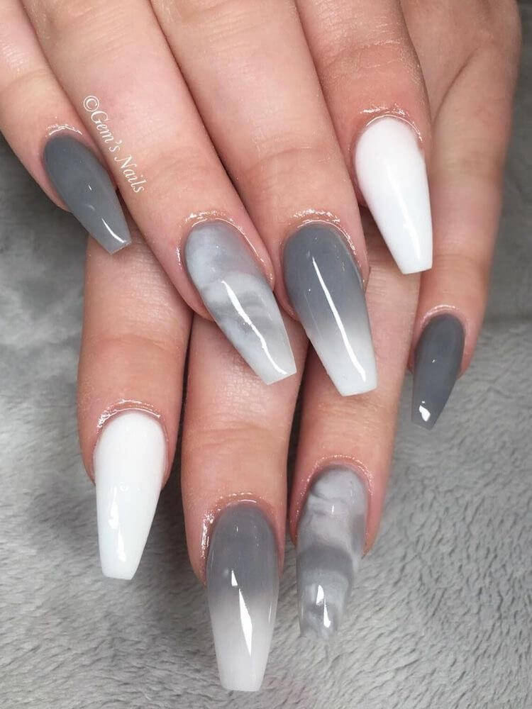 Grey Ombre Nails : ombre, nails, Unique, Ombre, Nails, Ideas, Winter,#Cute, #ideas, #nails, #unique, #winter, White, Acrylic, Nails,, Marble