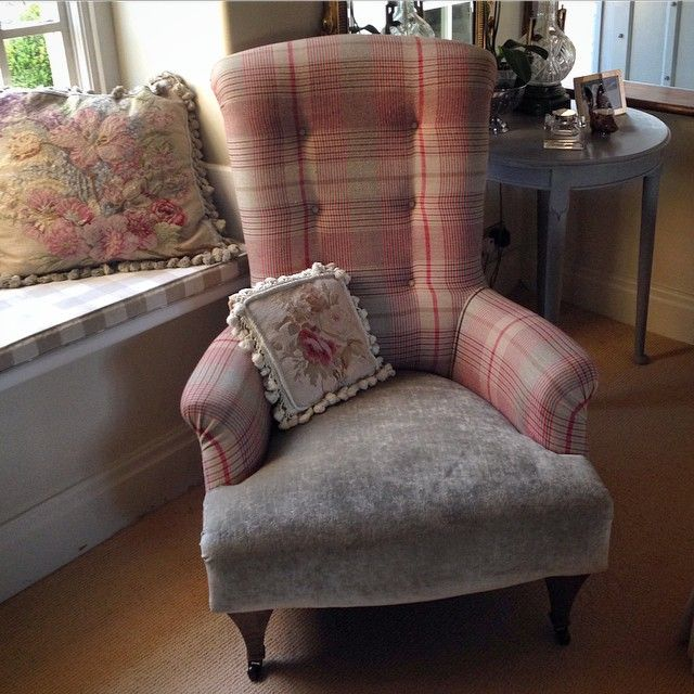 Chair in London Check - Red/Brick (discontinued) and Rossini - Silver/Grey by Mulberry Home.