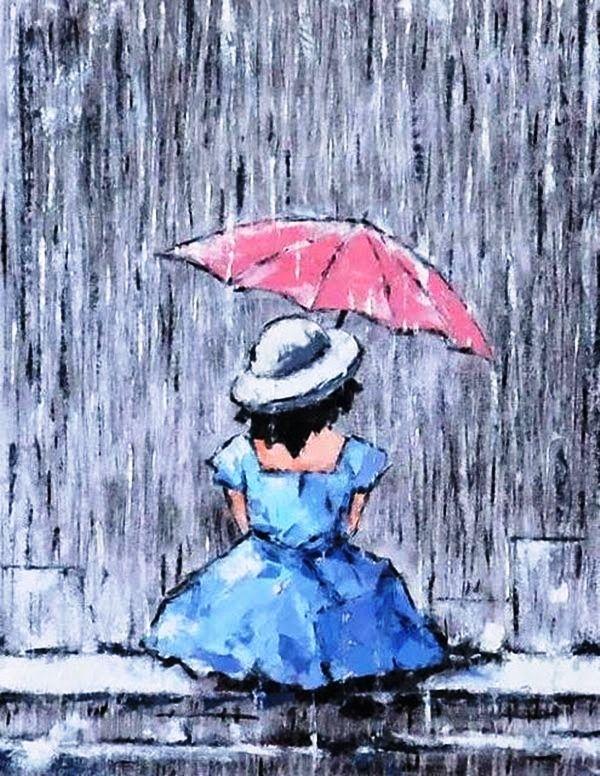 Открытка изготовить, картинки девушка под дождем с зонтом нарисованные