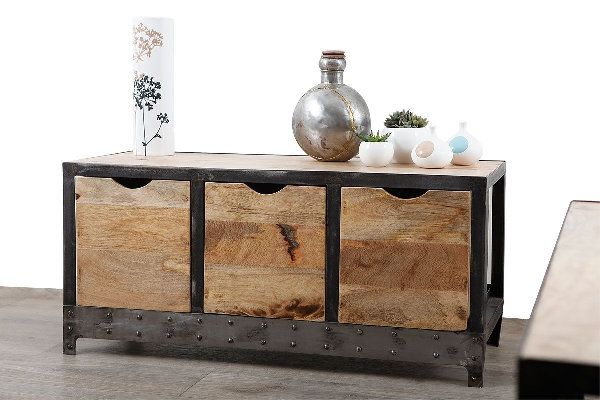 Great Kommode ATELIER Industriell Holz Massiv Und Metall   Zoom Nice Design