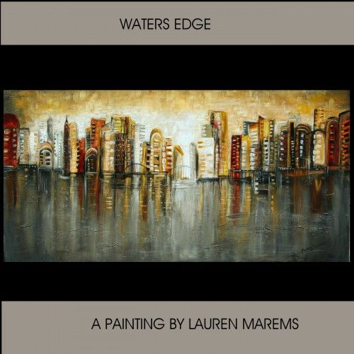 Ciityscape abstract painting skyline modern landscape Marems | LaurenMarems - Painting on ArtFire