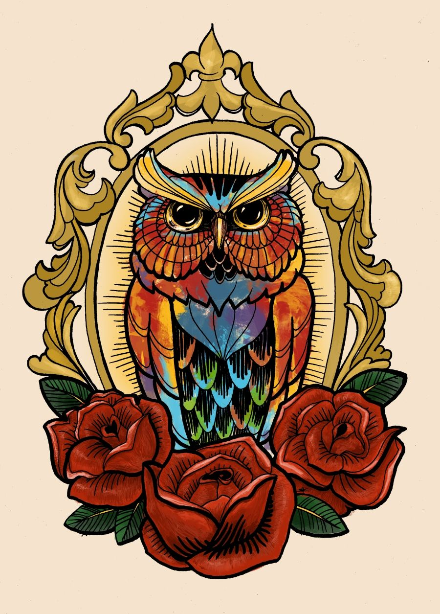Colorful owl tattoo design by Wintrygrey. | #tattoo #design #owl ...