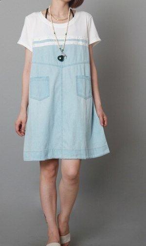 4118c8cc70c0b Light blue cotton summer maternity dress plus size shift dress sundress