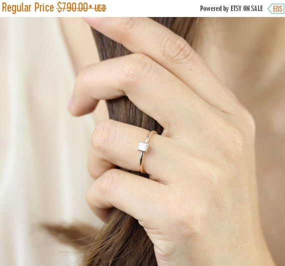 ON SALE Princess Cut Diamond Bezel Set Engagement Ring In 14k