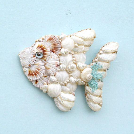 Angelfish Fish Seashell Wall Hanging Tropical Angel Art Coastal Beach Decor Shell With Shells