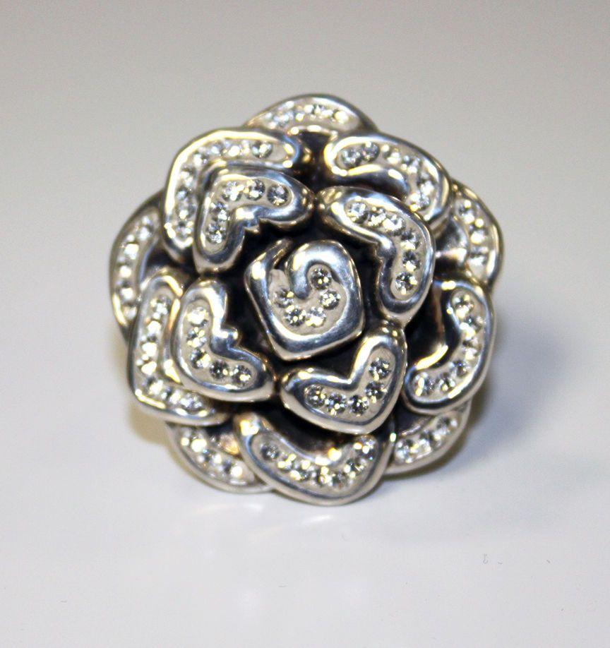 http://www.ebay.com/itm/261826491619?ssPageName=STRK:MESELX:IT&_trksid=p3984.m1555.l2649  925 STERLING SILVER electroform BIG chunky ROSE ring CZ stone ring sz 6 Bling