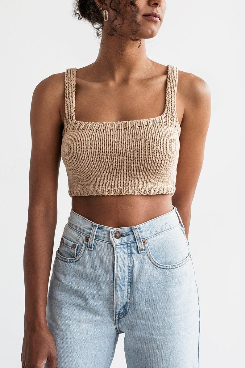 Square Neck Crop Top, Minimal Knit Top, Cropped Yo