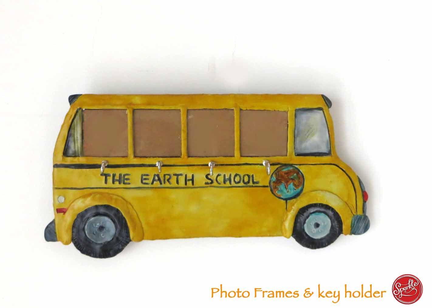 Indian School Bus Photoframe Keyholder Toy Car Earth School