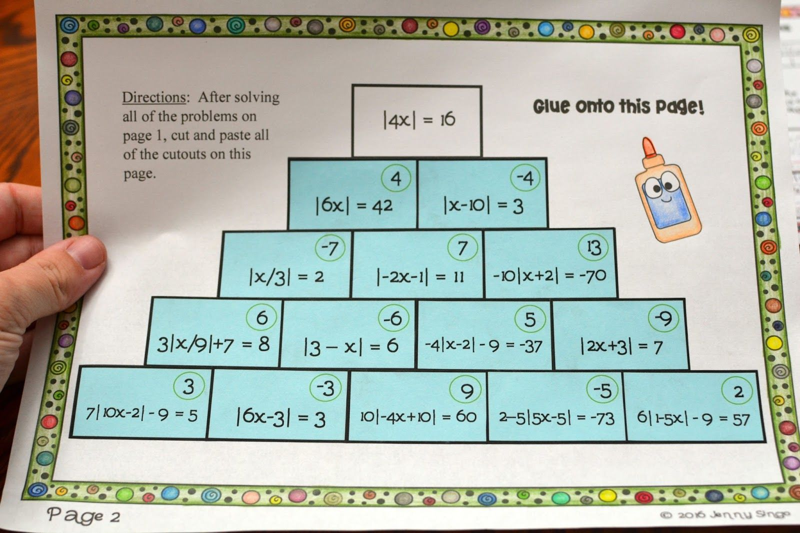 Absolute Value Equations Activity Absolute value