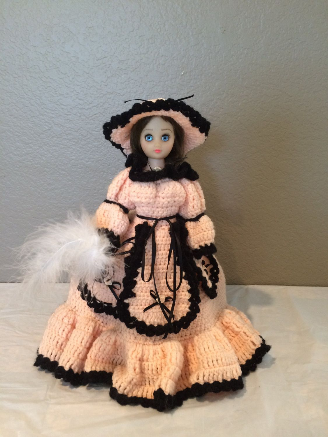 Vintage Blinking Eye Doll with Victorian Style Handmade Crocheted Dress Hat 15""