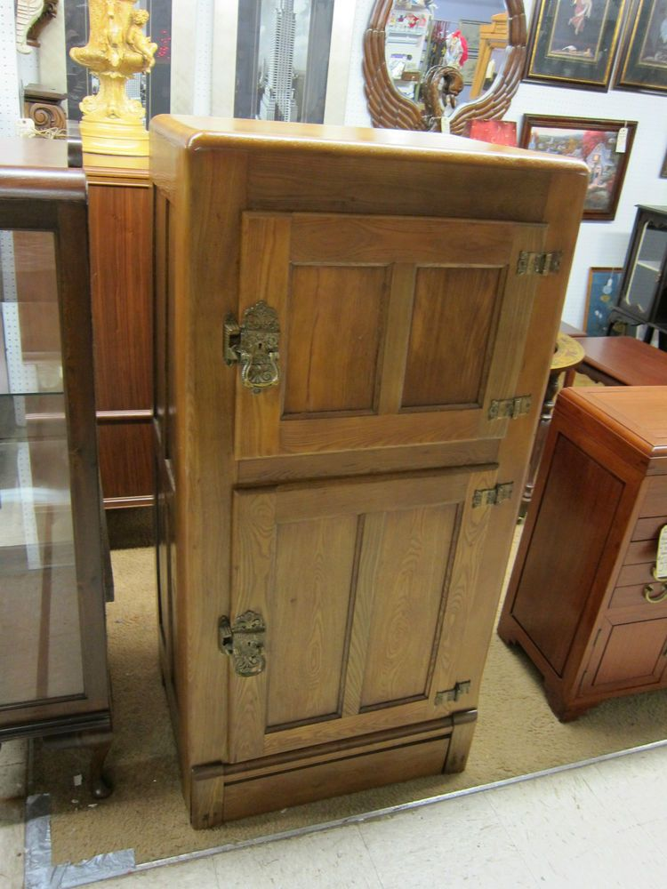 Antique Restored Refinished Oak Ice Box Metal Lined Original Hardware 32 T Antique Ice Box Antiques Ice Box