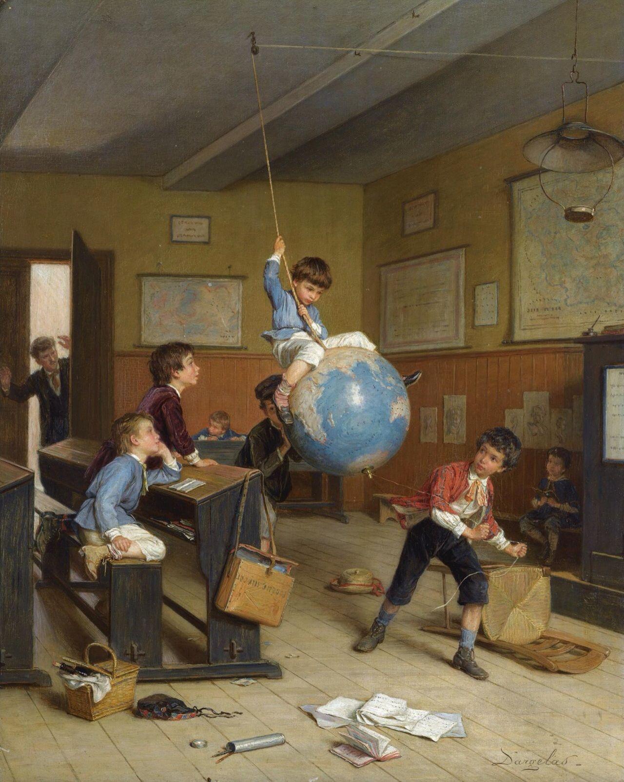 """André-Henry Dargelas (1828-1906) - """"Le Tour de Monde"""", oil on"""