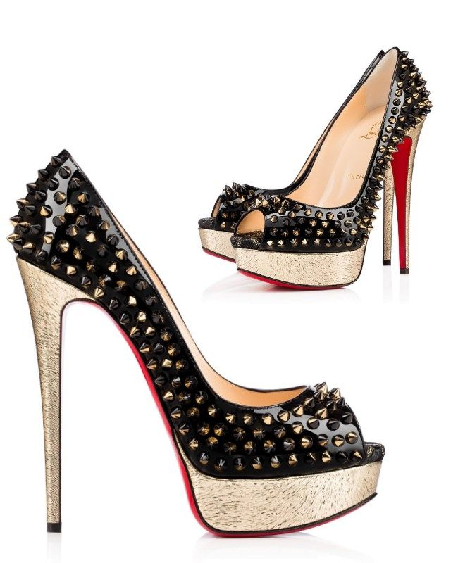 "Escarpins ""Lady Peep Spikes Laminato Animal"" de Christian Louboutin, printemps 2016 - http://tendance-talons.com/?p=15903"