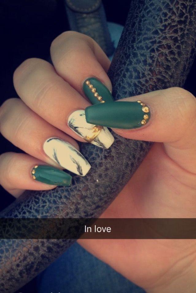 Pinterest Nicolexjosie Emerald Nails Green Acrylic Nails Green Nail Designs