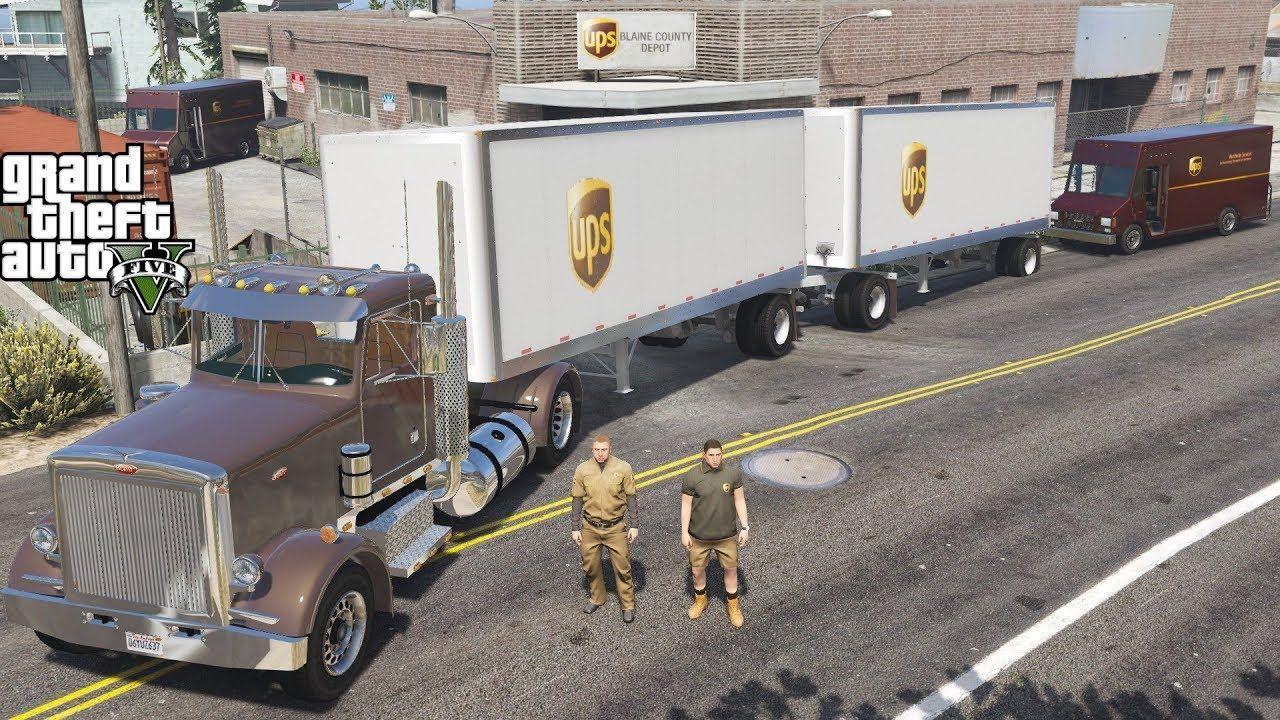 GTA 5 Real Life Mod #149 UPS Semi Truck Hauling Double