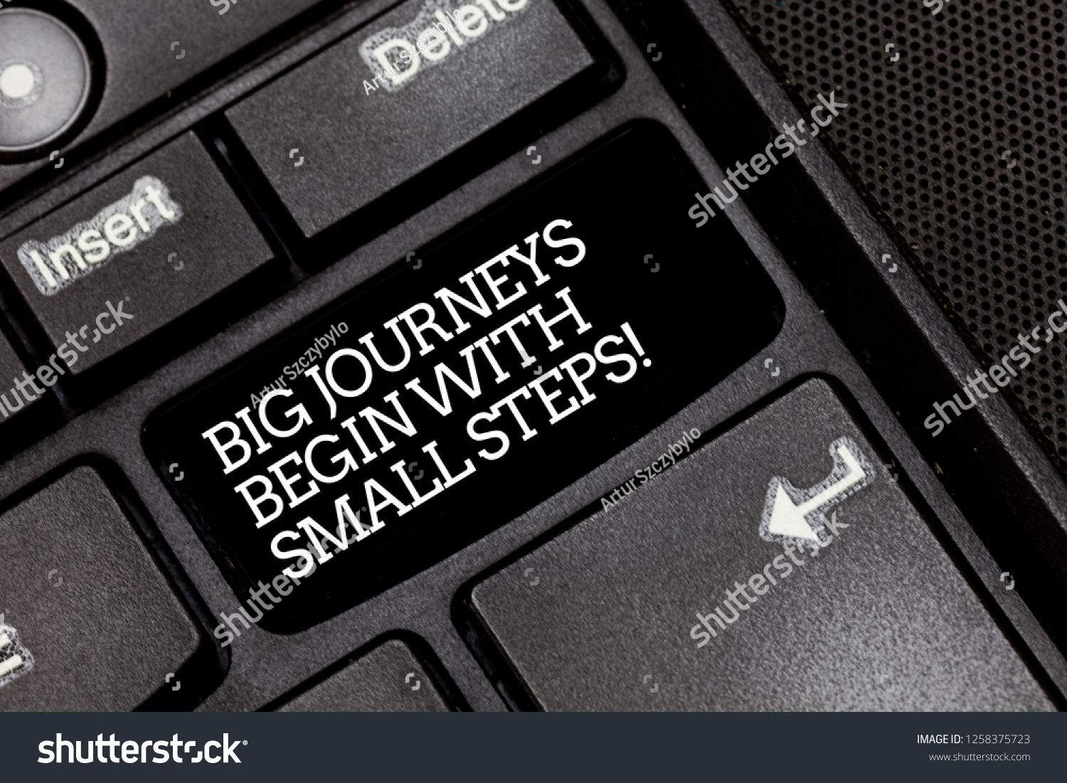 Handwriting Text Writing Big Journeys Begin With Small Steps Concept Meaning One Step At A Time To Reach Your Goals Keybo Concept Meaning Meant To Be Computer