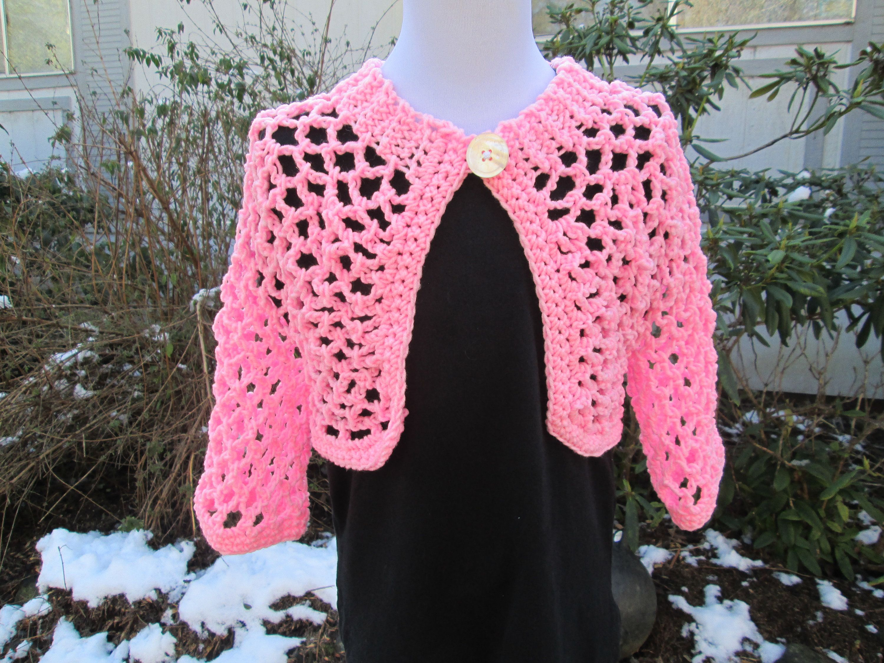 e8b0df9d71bd Girl s 8-12 Pink Bolero Crocheted by SuzannesStitches