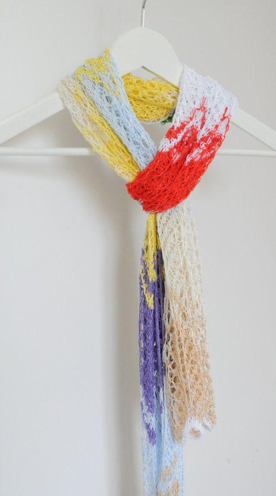 Wave Knit Lace Shawl, Knit Lace Scarf, Bamboo Scarf, Knit Bamboo Linen Shawl, Long Scarf