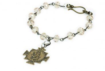 Bronze St. Christopher Crystal Bracelet