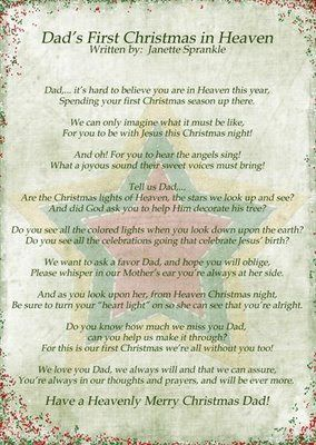 i wrote a couple of poems last year at christmas time because it was the first - Merry Christmas From Heaven Poem