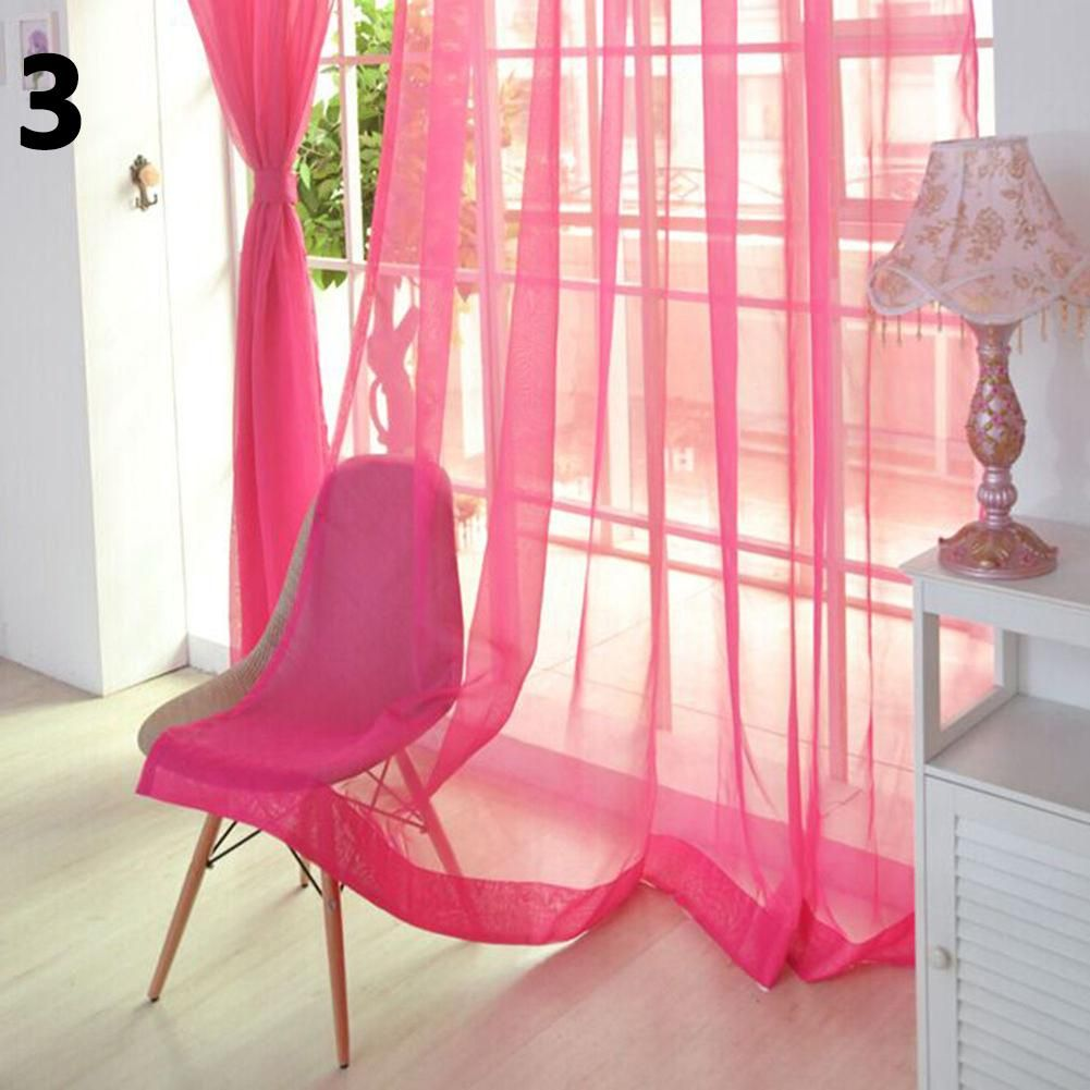 Photo of Solid Color Tulle Voile Door Window Curtain Drape Panel Sheer Scarf Valances – Pink