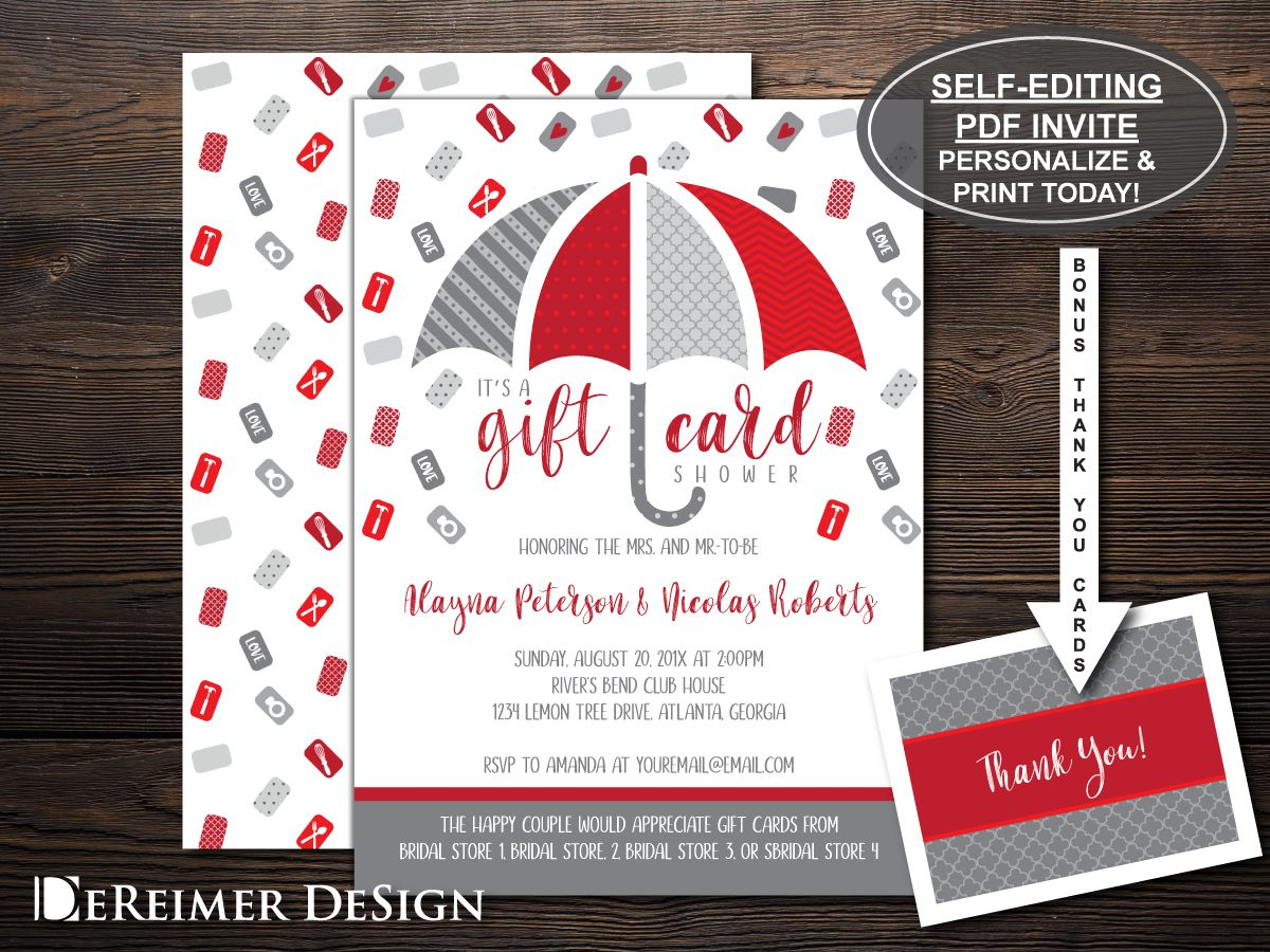Gift Card Wedding Shower in Red and Gray with free Thank You Card ...