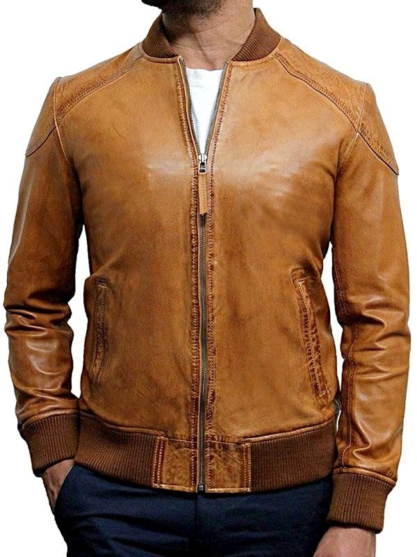 Mens Waxed Sheepskin Leather Bomber Jacket Tan / Brown in ...