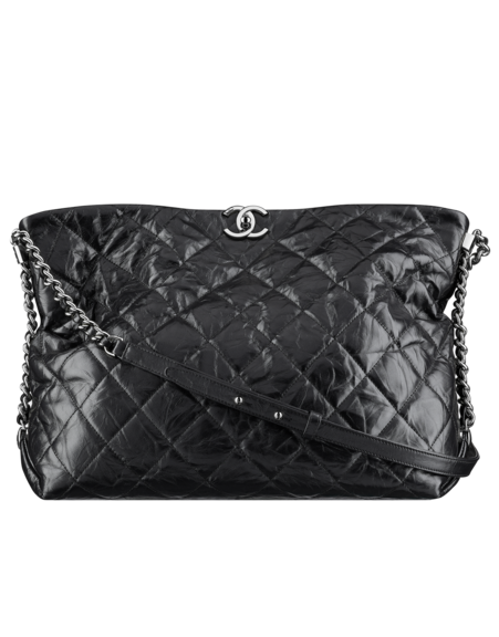 b2f007c097ba Hobo handbag, metallic crumpled calfskin & silver-tone metal-black - CHANEL