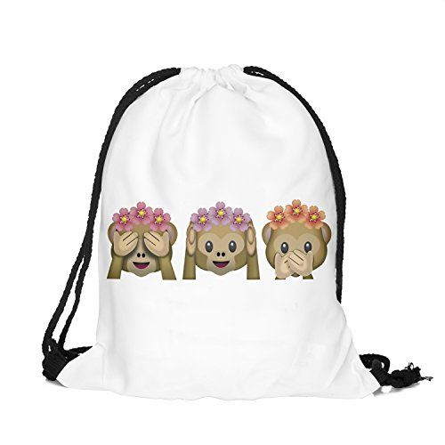 Drawstring Backpack Rucksack School Book Bags Gymbag Monkeys Flowers white 010 ** You can get additional details at the image link.
