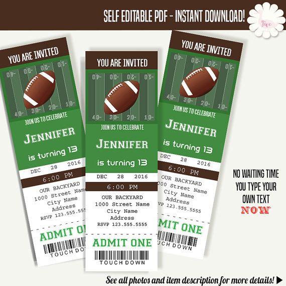 football ticket invitation birthday tickets template instant
