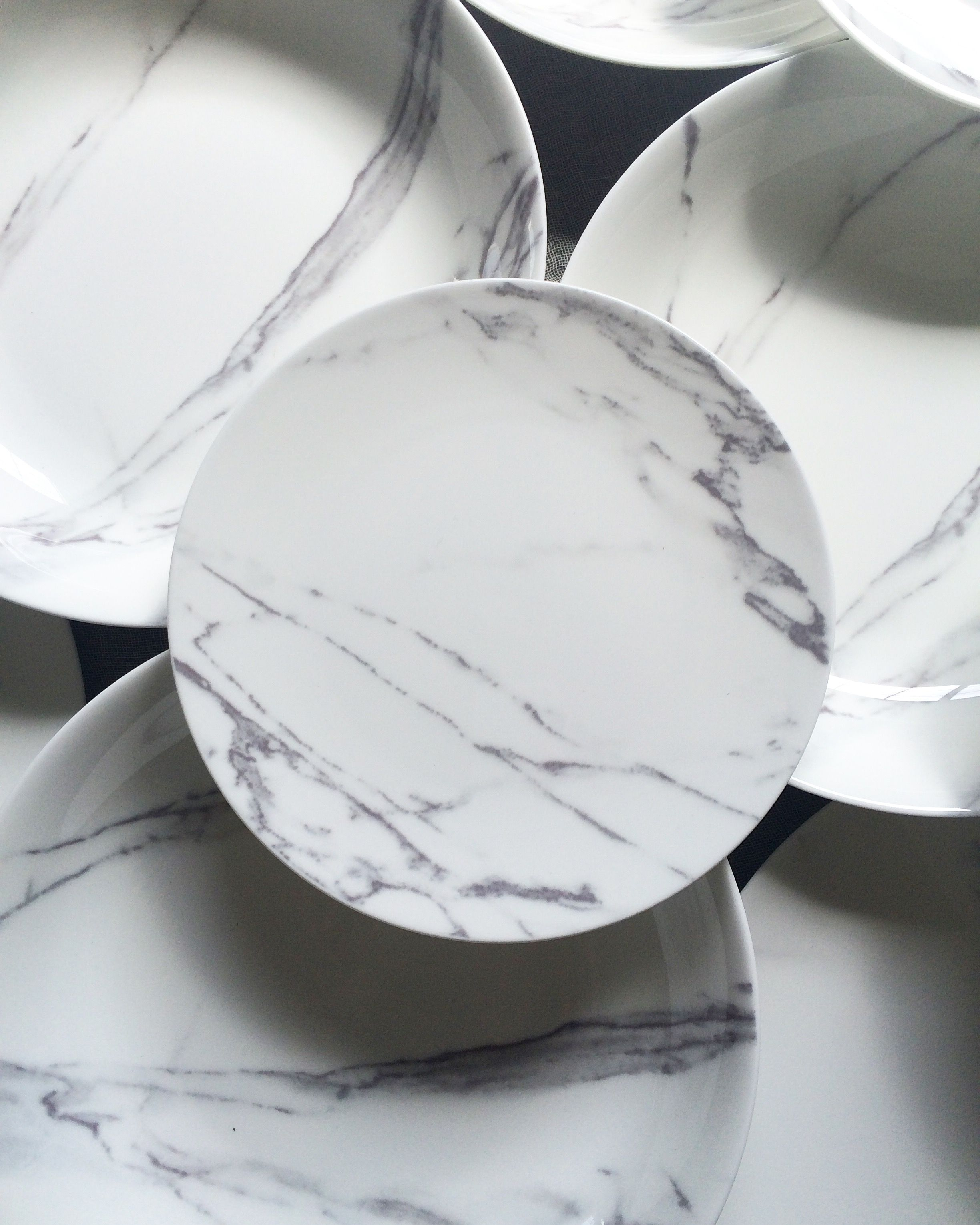 The Ark Collection Carrara Marble Dinner Plates Salads