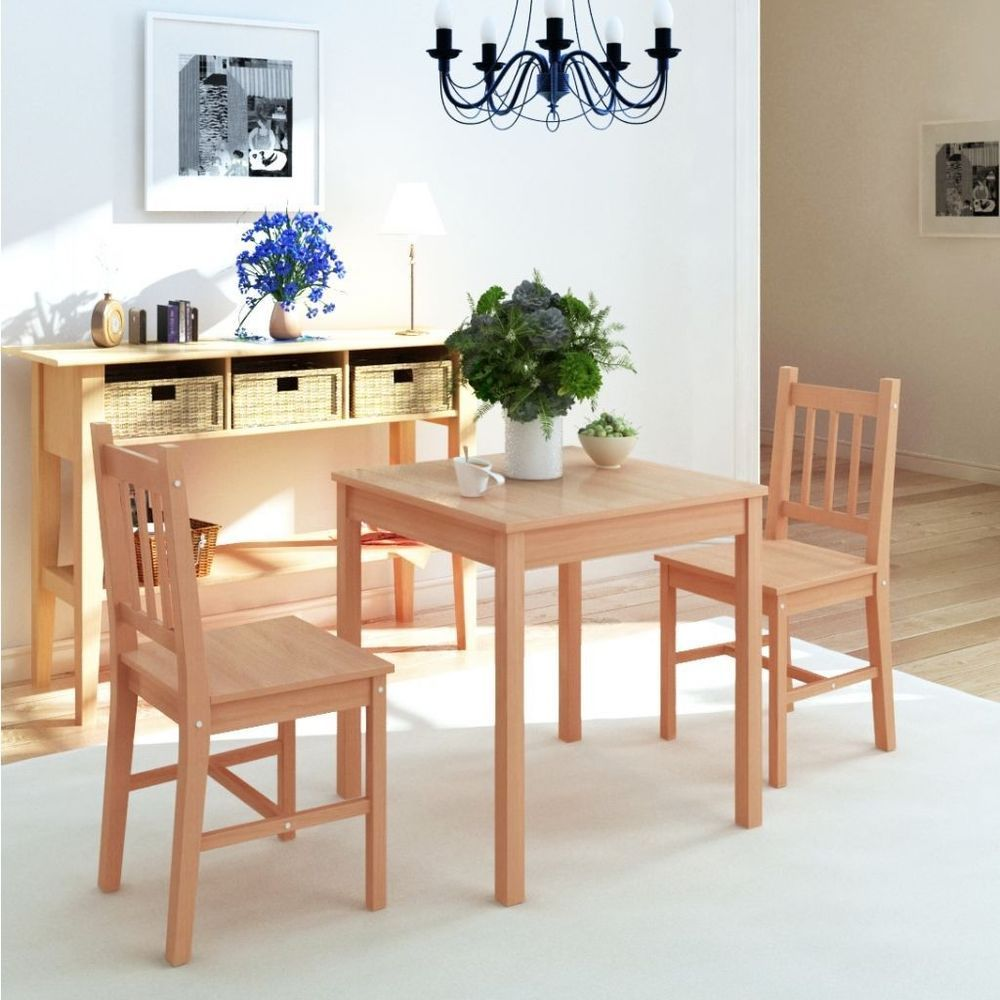 Square Dining Table And 2 Chairs Set Living Room Furniture Wooden Brown NEW