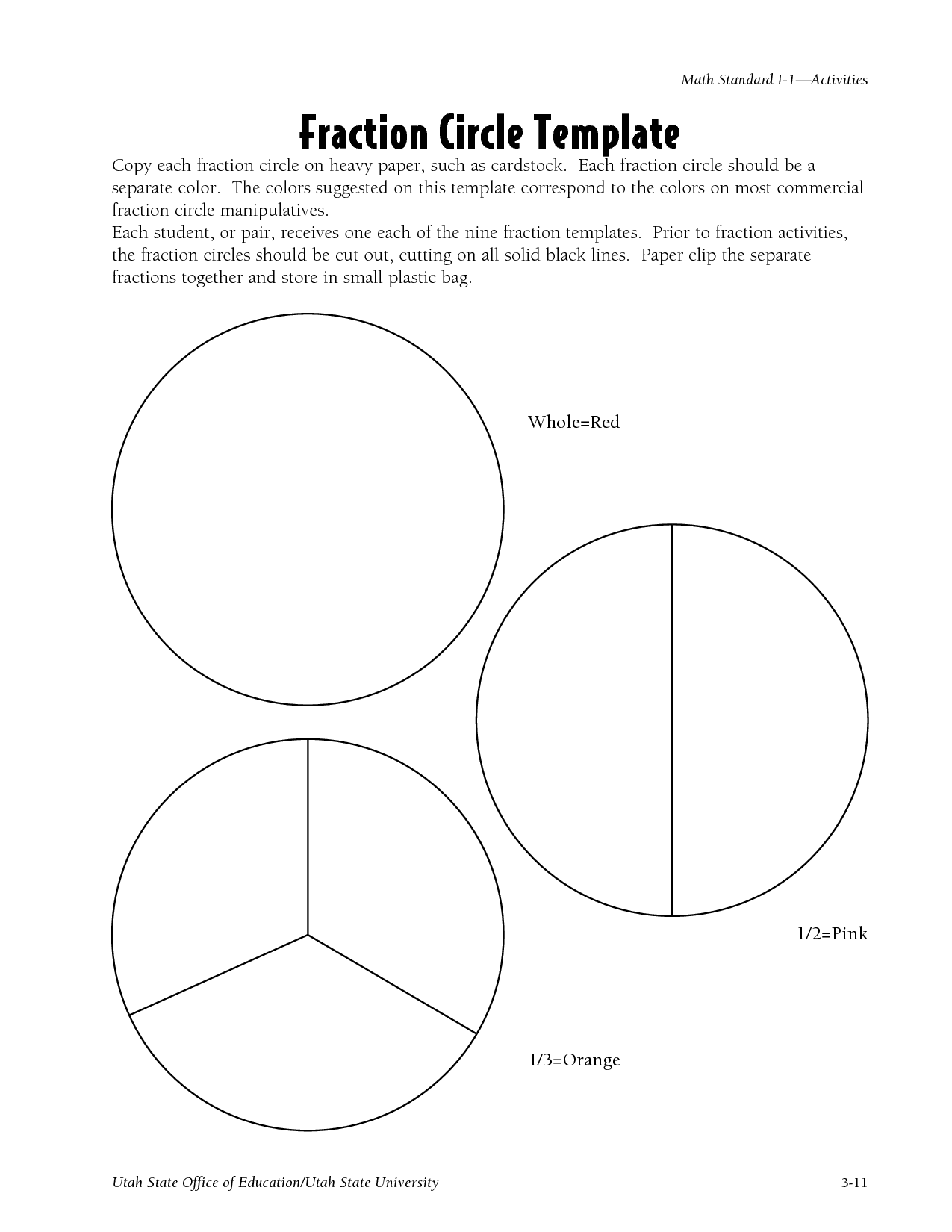 Blank Fraction Circles