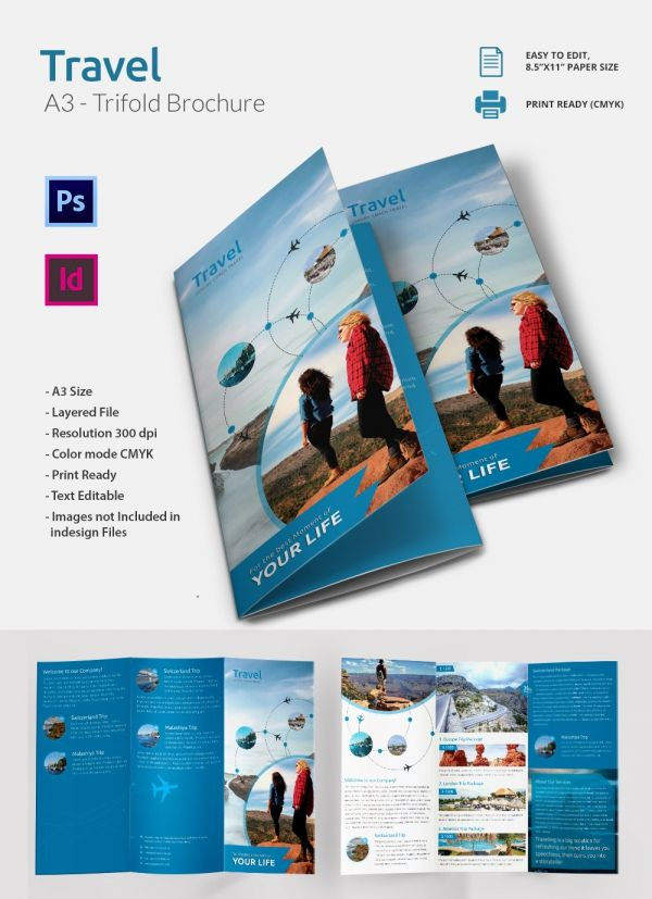 PSD and Ai Travel Tri Folding Brochure Graphic Design - free pamphlet templates