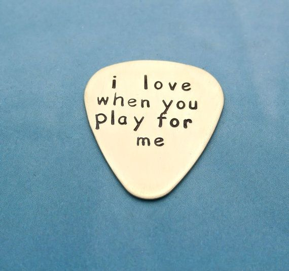 NuGold Brass Personalized Guitar Pick Hand Stamped Musician Gift Valentines Day For Him