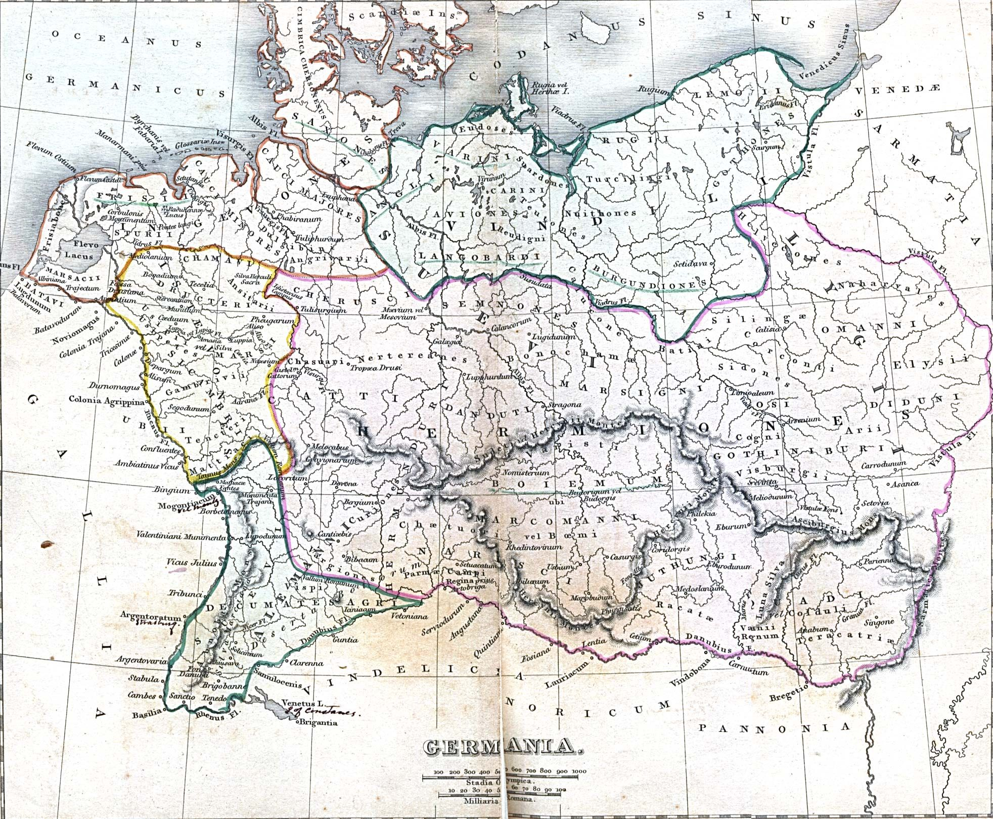 Ancient Germania Roman Knowledge Of German Territories Ancient - Germany map middle ages