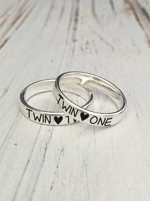 19f20097ba 4mm Twin One, Twin Two Sister Sterling Silver Ring Set(Sold individually)/Personalized  Engraved Silver ring/engraving inside sold separately #silverbracelet