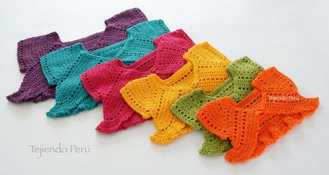 Bolero mariposa tejido a crochet para bebés y niñas, paso a paso ...