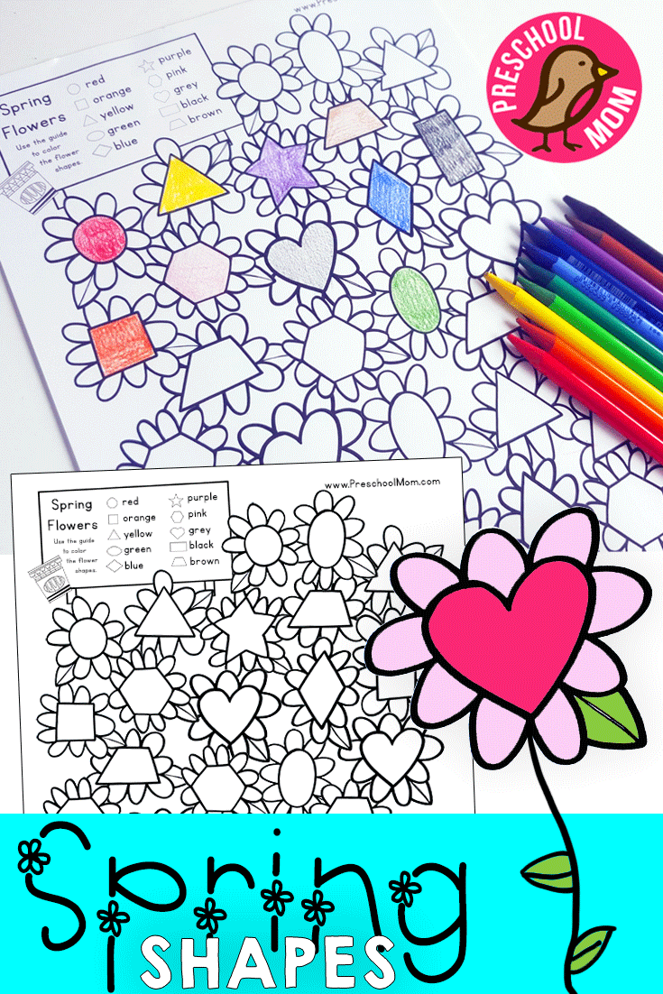 Spring Flower Shape Match Shapes worksheets, Shape