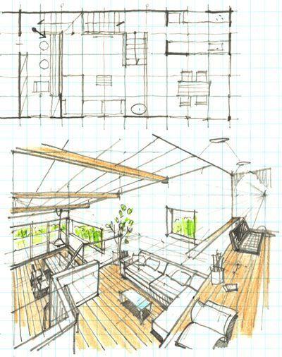 ヤマ先生の手描きパース道場の画像 住宅建築デザイン 建築パース