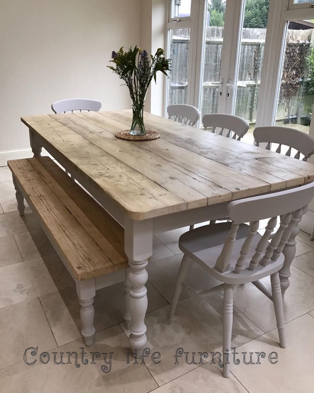 The Florence Clear Table Made From Reclaimed Wood Distressed Wooden Top Farmhouse Dining