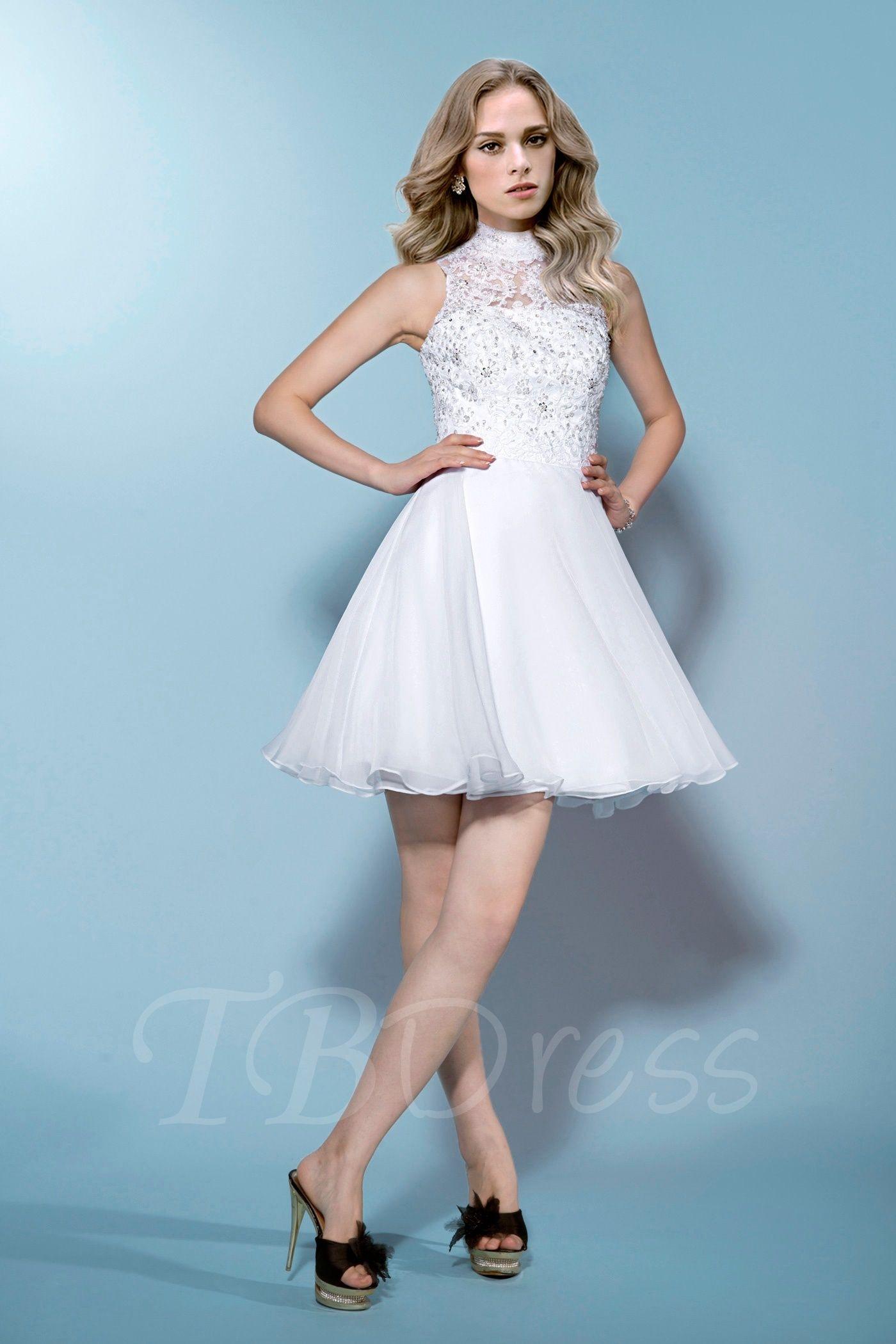 Sleeveless High-Neck Beading Lace Zipper-Up Short/Mini Wedding Dress ...