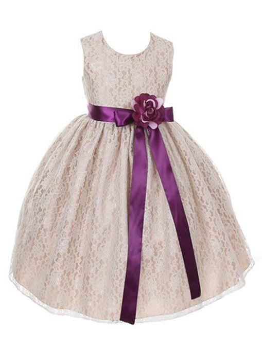 DressForLess Champagne Elegant Lace Flower Girl Dress with Ribbon Sash, PlumPlum, 8, (CC1132CM-PL-PL-8)