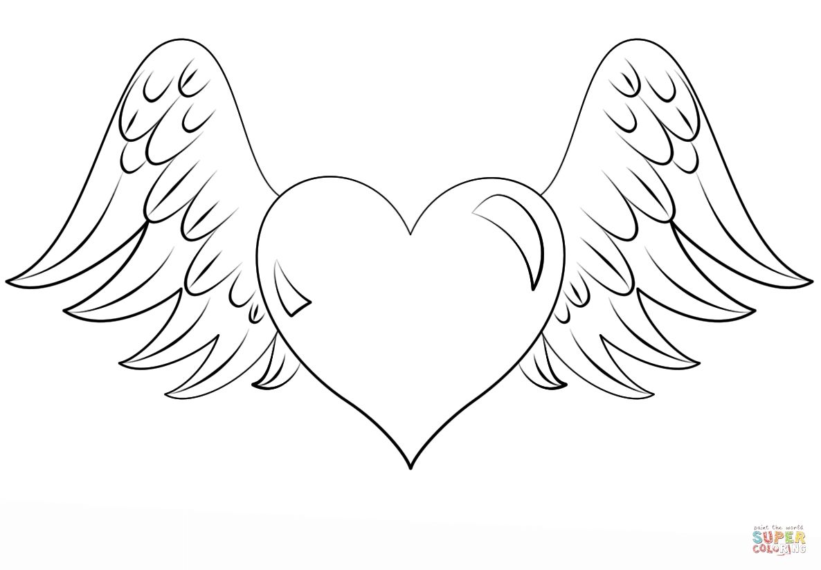 Heart With Wings Coloring Pages Download Heart Coloring Pages Angel Coloring Pages Free Coloring Pages
