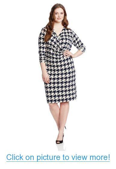 Jones New York Women\'s Plus-Size 3/4 Sleeve Drape Dress   Plus Size ...