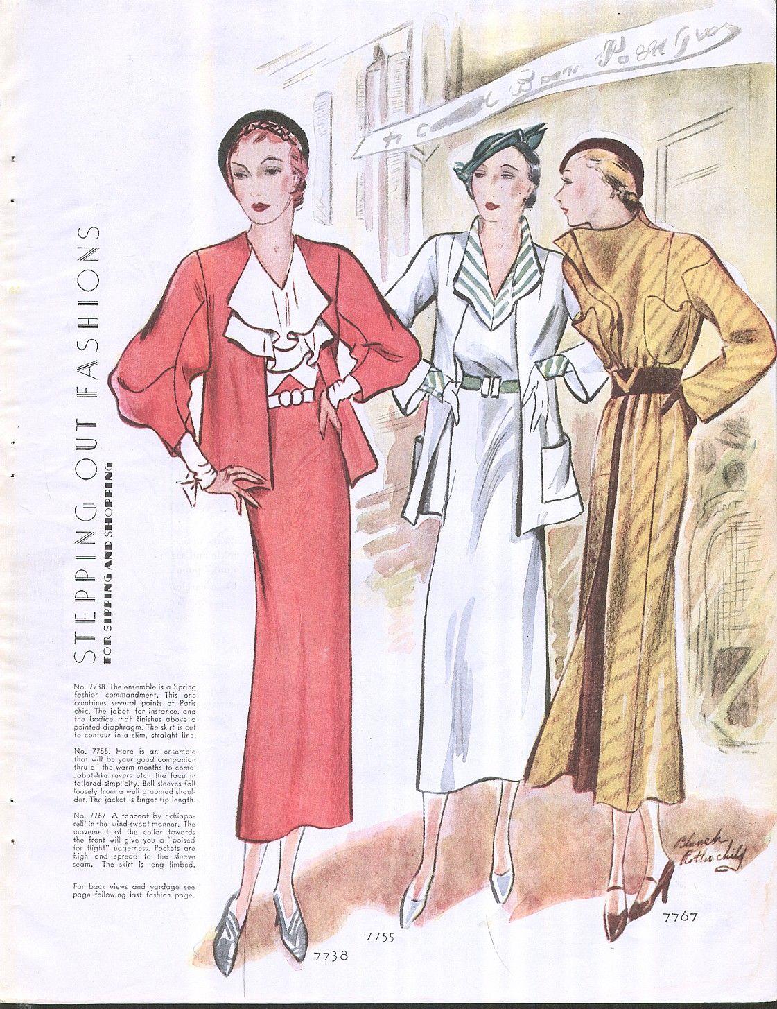 Vintage art deco era mc call 39 s 1930 39 s fashions spring by for Art deco era clothing
