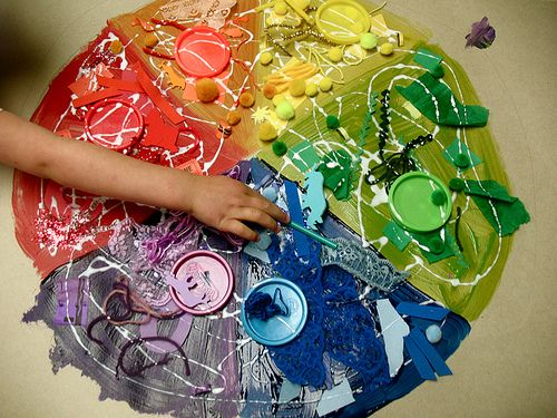 Glue + Found Objects = Color Wheel, Did I Mention GLUE